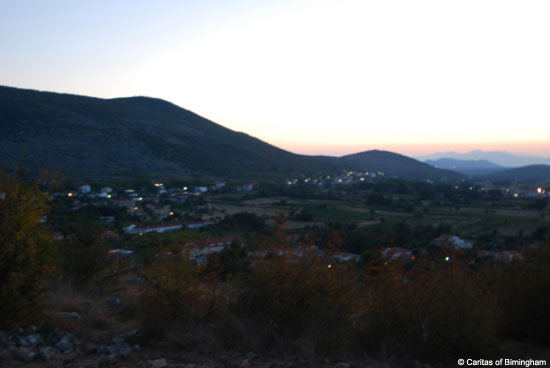 View of Cross Mountain from Apparition Mountain Medjugorje