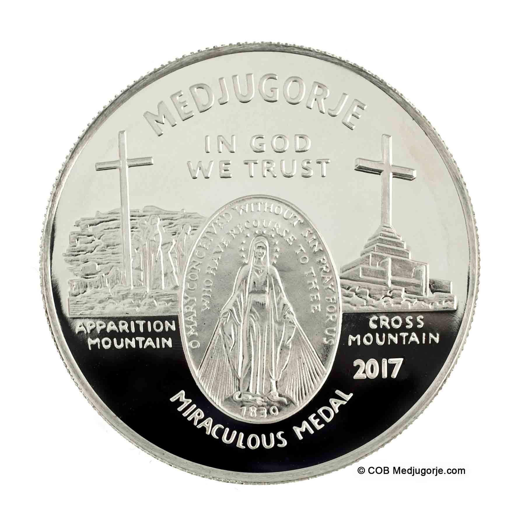 Miraculous Medal Medjugorje Round front